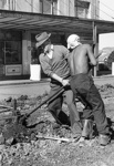 The first tracks to be removed, Jervois Road, Herne Bay, 1950s : two workmen; Graham C. Stewart (b.1932); 1950s; 06-1207