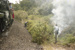 Photograph of locomotive J 1211 and fire on Opua line; Les Downey; 1985?; 14-4637