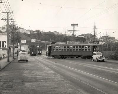 Trams near Eden Park; Graham C. Stewart (b.1932); 08/092/207