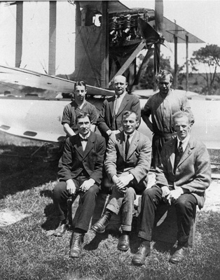 New Zealand Flying School top row, E. Pheasant, W. Ross, M.Ross, bottom row R. J. Johnston, V. C. Walsh, G. B. Bolt; Unidentified; 10-0907