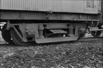 Photograph of 50ft guard's van bogie; Les Downey; 1972-1976; 14-1095