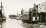 Trams  Auckland,  Dominion Rd at Valley Rd (to right) view north; Graham C. Stewart (b.1932); 14-0111