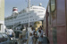 Photograph of Opua wharf, train and cruise ship; Les Downey; 1985; 14-4295