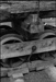 Photograph of bogie and wooden wheels for log wagon; Les Downey; 1973; 14-2371