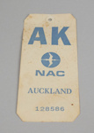 Baggage Destination Tag [NAC]; National Airways Corporation (New Zealand, estab. 1947, closed 1978); 2013.345