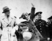 Jean Batten  waves to crowd during her 1934 Gypsy Moth flight to Australia.; Unidentified; 10-0852