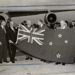 Air New Zealand Executives and New Zealand Flag on Tarmac; Unknown Photographer; Unknown; 15-0111