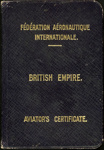 Aviator's Certificate; Federation Aeronautique Internationale; 1916; 04/077/126