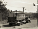 [Tram no. 11 being towed by trailer]; Unknown Photographer; Unknown; PHO-2017-5.33
