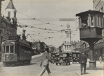 [Corners of Queen and Wellesley Streets showing tram no. 198, tram signal box, and vehicles]; Unknown Photographer; [1919-1928]; PHO-2017-5.13