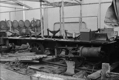 Photograph of C locomotive under restoration; Les Downey; 1976; 14-2400