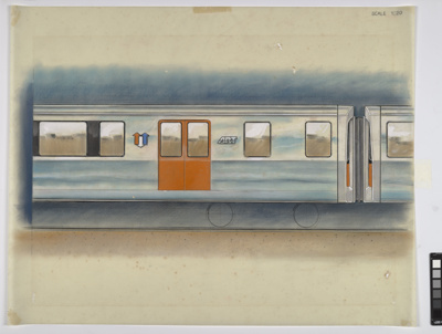 [Auckland Rapid Transit: Concept for exterior side of a passenger carriage]; Gifford Jackson (b. 1920, d. 2013); [1974]; ART-2017-8.7