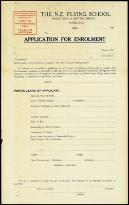 Application form for the New Zealand Flying School, with self-addressed envelope; New Zealand Flying School (New Zealand, estab. Circa 1912); 1916-1924; 04/071/113