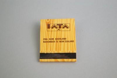 Matchbook [IATA 29th AGM Auckland November 1973]; International Air Transport Association (Cuba, estab. 1945), Allenco Match; 1973; 2003.144.2