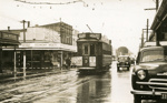 Trams  Auckland,  Dominion Rd at Valley Rd (on left) and Walters Rd ( on right) view south; Graham C. Stewart (b.1932); 14-0118
