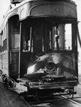 Photograph of a fire damaged tram, exhibit no. 1,  Auckland Supreme Court, 28/5/51; Unidentified; 1951; 06-1184