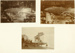 Two black and white photographs of Walsh Brothers Flying School flying boat under construction in their workshop, and one photograph of it on the beach being launched; 1915-1927; 04/077/038