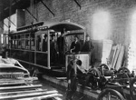 Tram no. 11 being assembled at Wallace St Depot; Unidentified; 06-1128
