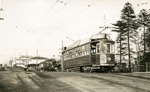 Trams  Auckland,  Dominion Rd . (at railway overpass . area changed completely due to road works C. 1953; Graham C. Stewart (b.1932); 14-0112