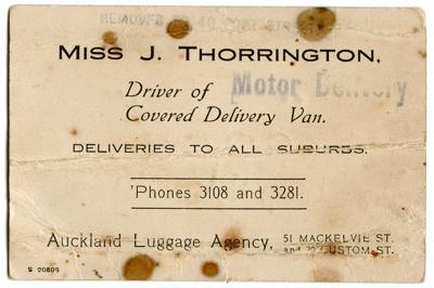 Miss J. Thorrington business card; Jessie Thorrington; 96/005/002