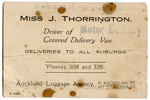Miss J. Thorrington business card; Jessie Thorrington; 96/005/002
