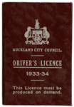 Driver's licence to drive : Mrs Jessie Elizabeth Horton; Auckland City Council (closed 2010); 1934; 96/005/001