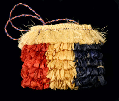 Maori kete Raakei (decorative basket/kit) made wit...