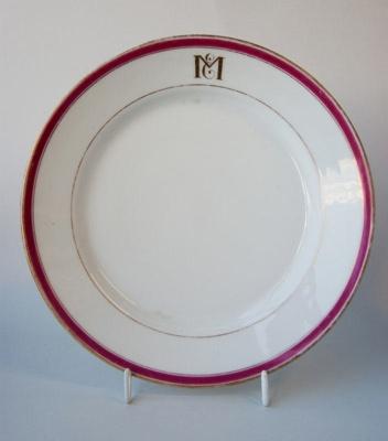 White bone china luncheon plate; c. 1860s; 78/45