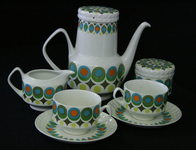 Coffee set is in a 1970s style known as Pontesa wi...