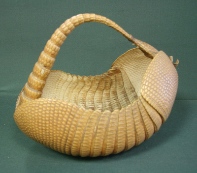 Needlework basket made out of an armadillo's shell...