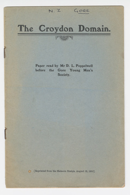 booklet, public lecture paper; Mataura Ensign; Dugald (D.L.) Poppelwell (1863-1839); 15.08.1910; GO78.158.4a