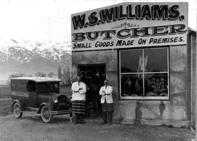Photograph [W S William's butchery]; Jas Webster, Dunedin; Late 1920s; 69