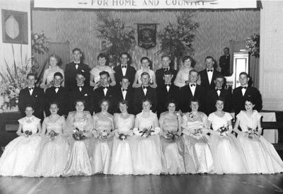 Photograph, CWI Debutantes' Ball with Partners; de Clifford Photography, Dunedin; 6 Sep 1956; 2011.2.1