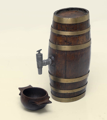 Whiskey keg and cup, B035a
