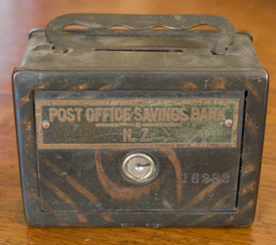 Money box; New Zealand Post Office Savings Bank (New Zealander, estab. 1876); XOPO.53