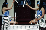 Maori girls practicing stick game [tititorea]; Don Cole; 1/02/1994; 2007.7.108