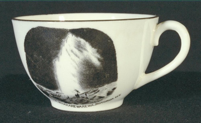 Small china teacup with drawing of Wairoa Geyser, ...