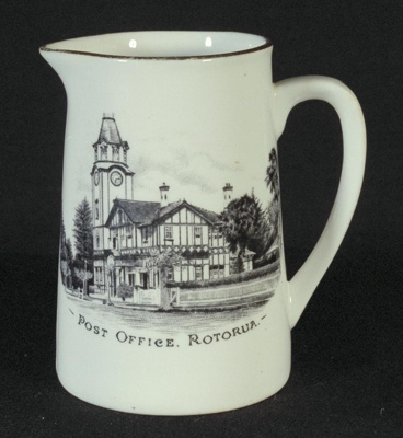 Small china milk jug with drawing of Post Office,...