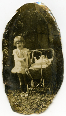 Norma Evans with 'Betty' in pram; Unknown; 1927; 2010.36.3