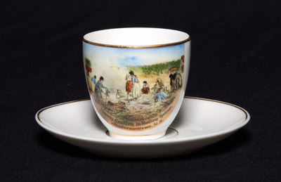 Fine white bone china espresso sized cup and sauce...