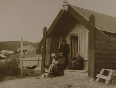 Tukiterangi Maggie Papakura's first house. Woman o...