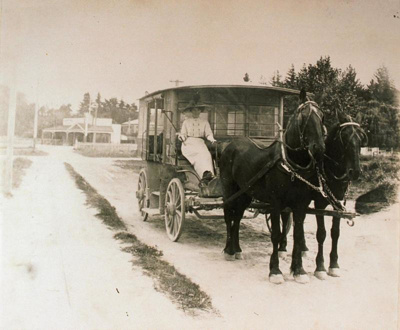 Horse and carriage at Tutanekai street lakefront extension, CP-2229