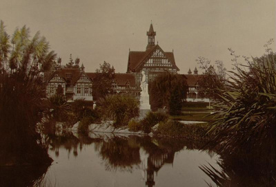 Hand tinted image of the Bath House with the Fred ...