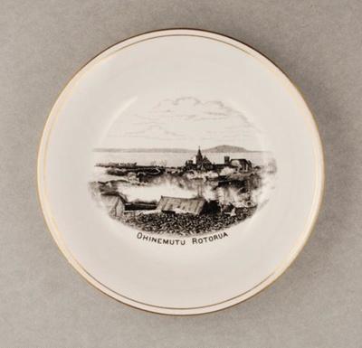 White china bowl with black illustration: Ohinemu...