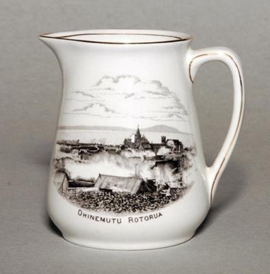 Large milk jug with illustration of Ohinemutu Rot...