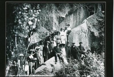 Tourists on Hinemoa's steps, 3/02/1912, GP-147