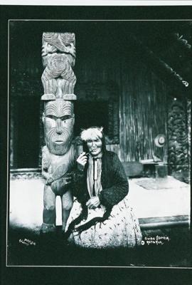 Guide Sophia sitting on porch of Nukuteapiapi, Marsh, C.W., Circa 1908, GP-27