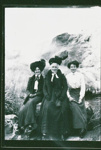 Three female tourists beside Puarenga, Circa 1900, GP-224