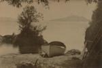 Small boat ashore - looking to Mokoia Island, Payton, Edward W., Circa 1909, OP-1349