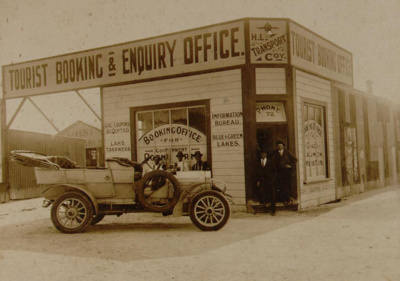 Car outside Tourist Booking office, Circa 1910, OP-823